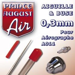 Aiguille & Buse 0,3 pour aérographe A011 Prince August PAAA023 - MAKETIS