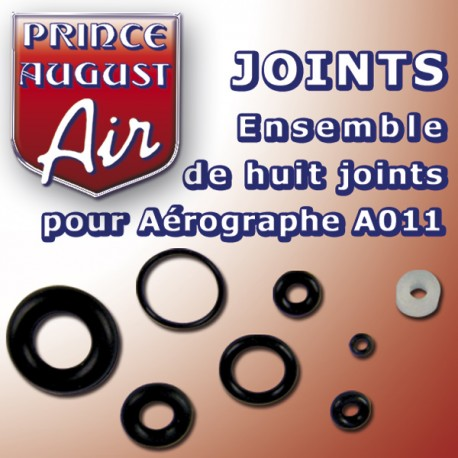 Ensemble de huit joints pour aérographe A011 Prince August PAAA030 - MAKETIS
