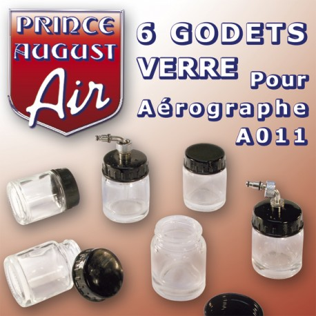 6 godets verre pour aérographe A011 Prince August PAAA040 -MAKETIS